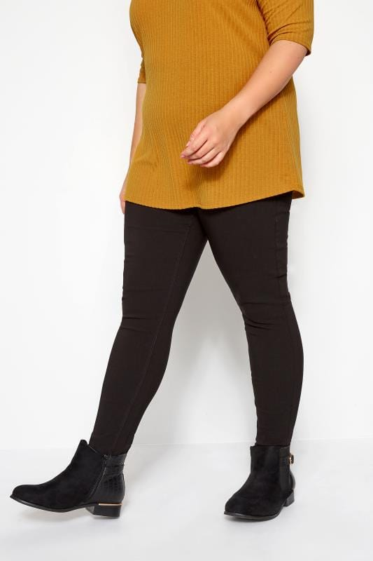 Plus Size Tapered & Slim Fit Pants Black Stretch Slim Fit Trousers With Elasticated Waistband