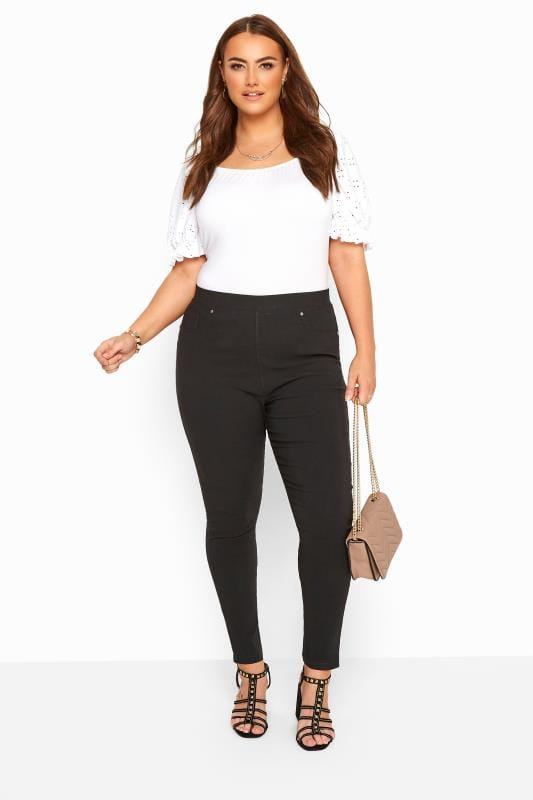 Plus Size Tapered & Slim Fit Trousers Black Stretch Slim Fit Trousers With Elasticated Waistband