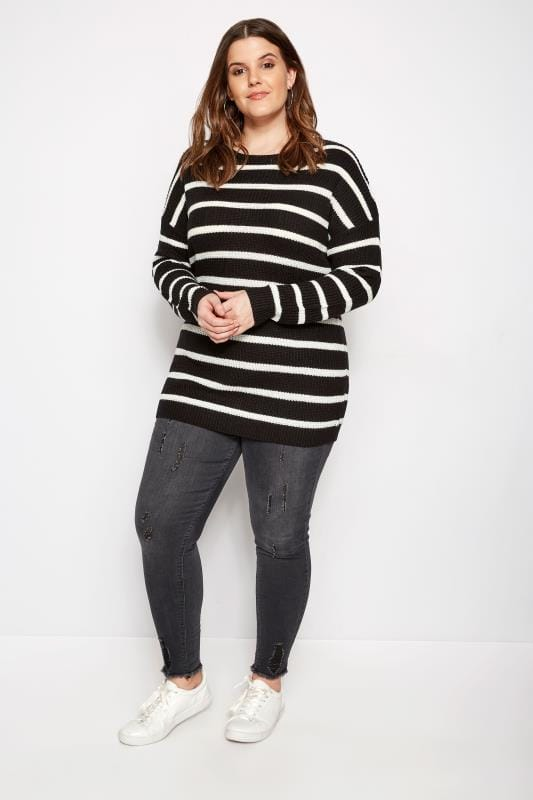 Black Stripe Lattice Back Knitted Jumper