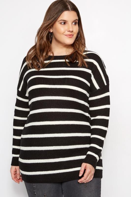 Black Stripe Lattice Back Knitted Jumper