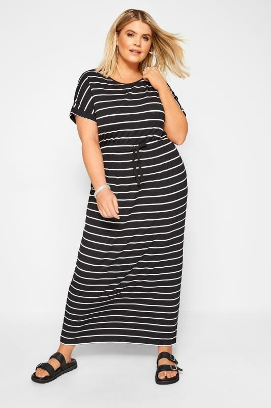Plus-Größen Maxi Dresses Black Stripe Maxi Dress