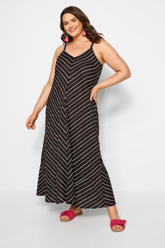 Plus Size Maxi Dresses Black Striped Maxi Dress