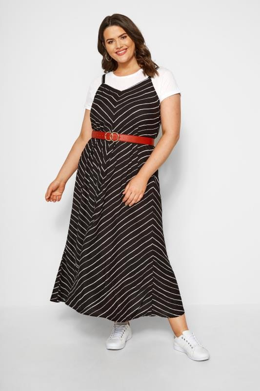 Plus Size Maxi Dresses Black Striped Maxi Dress