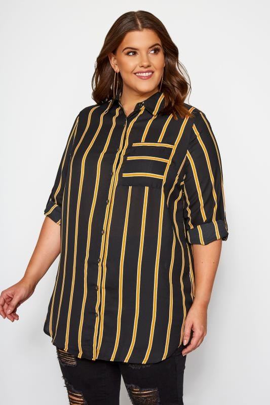 Plus Size Blouses & Shirts Black Striped Oversized Boyfriend Shirt