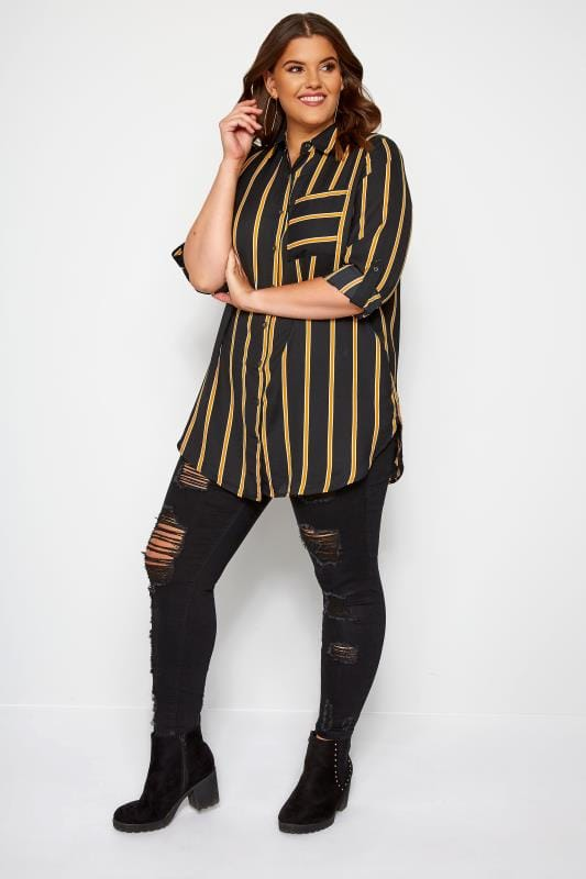 Plus-Größen Blouses & Shirts Black & Mustard Striped Oversized Boyfriend Shirt