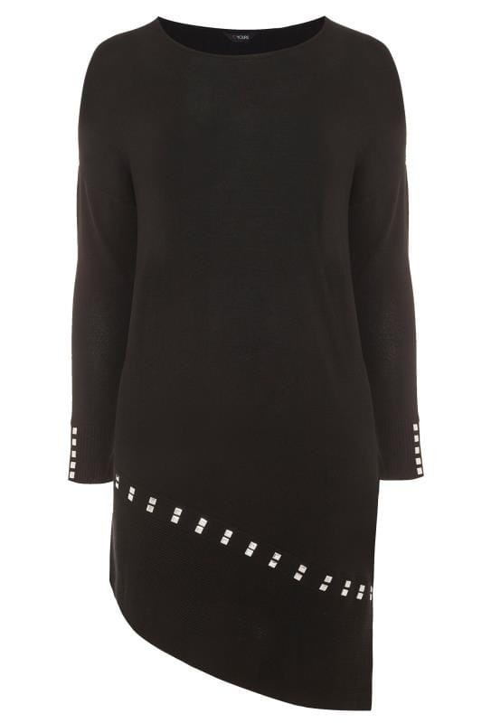 Plus Size Knitted Tops & Jumpers Black Stud Asymmetric Tunic