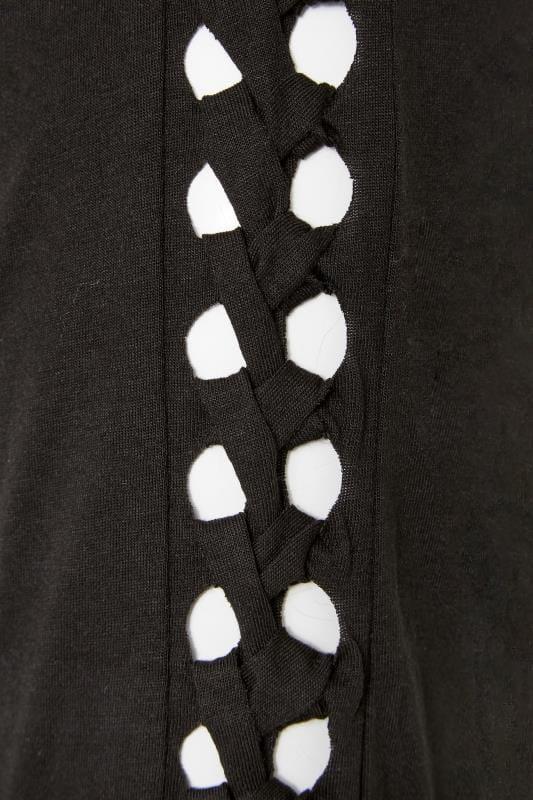 Black Stud Slogan Cold Shoulder Top