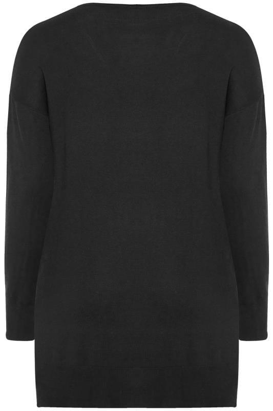 Black Stud Trim Knitted Tunic Jumper