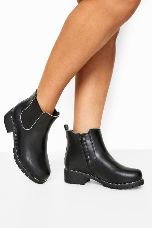 Yours Black Studded Chelsea Boots In Extra Wide Fit