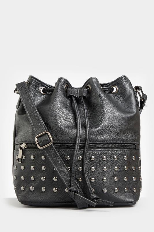 Black Studded Cross Body Bucket Bag