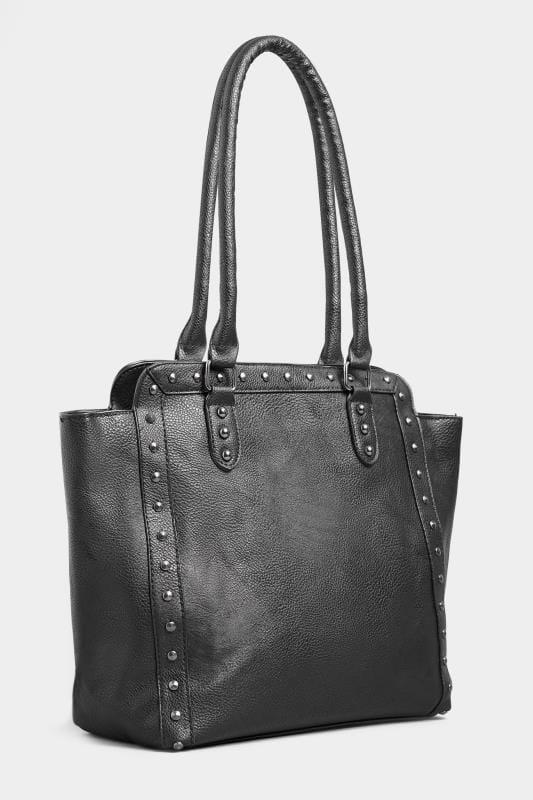 Black Studded Shopper Bag