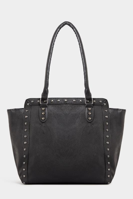 Black Studded Shopper Bag