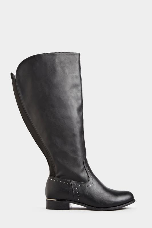 Yours Black Studded Trim Stretch Knee High Boots In Extra Wide Fit
