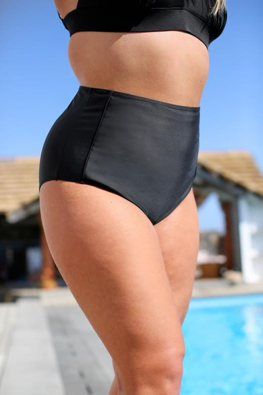 Plus Size Bikinis & Tankinis Black Super High Waisted Bikini Briefs