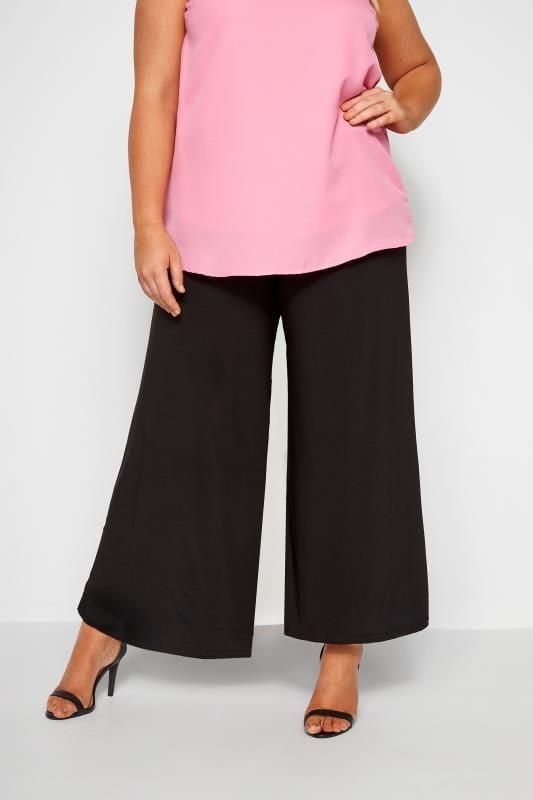 Wide Leg & Palazzo Trousers dla puszystych Black Super Wide Leg Jersey Palazzo Trousers