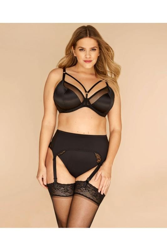 Plus Size Stockings & Hold Ups Grande Taille Black Suspender Belt