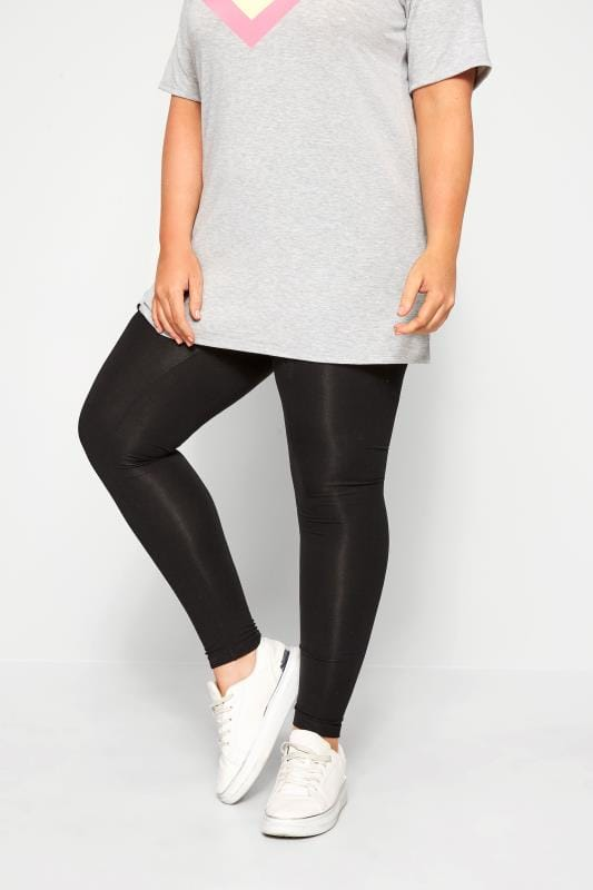 Plus Size Basic Leggings SUSTAINABLE Black Recycled Leggings