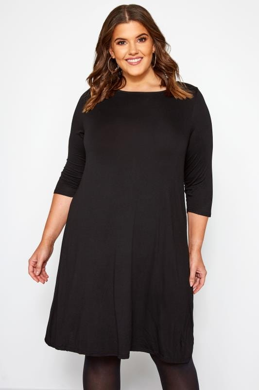 Plus Size Jersey Dresses Black Swing Dress