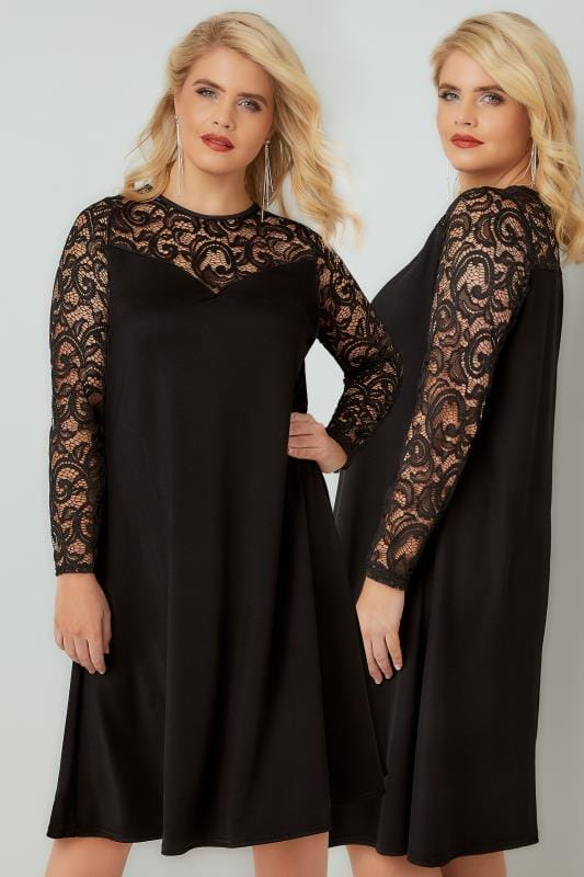 Black Swing Dress With Lace Yoke & Sleeves, Plus size 16 to 36