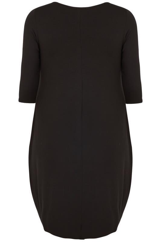Black Drape Pocket Dress