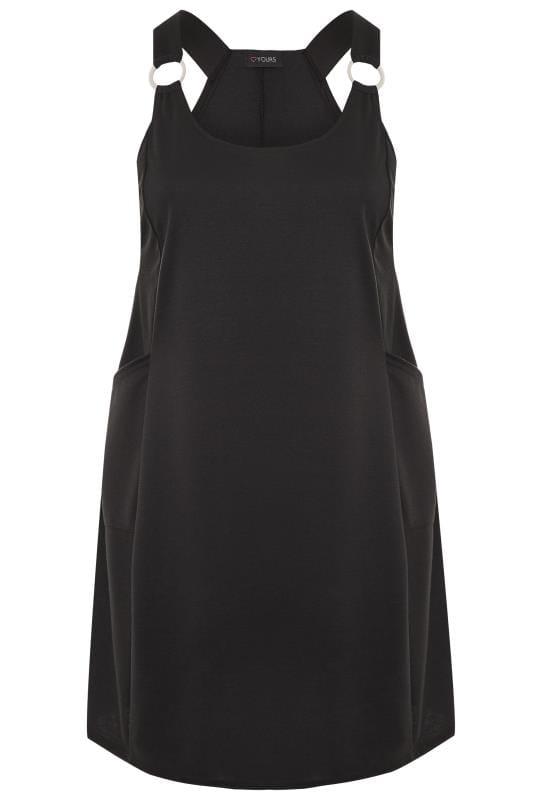 Große Größen Trägerkleider Black Swing Pinafore Dress