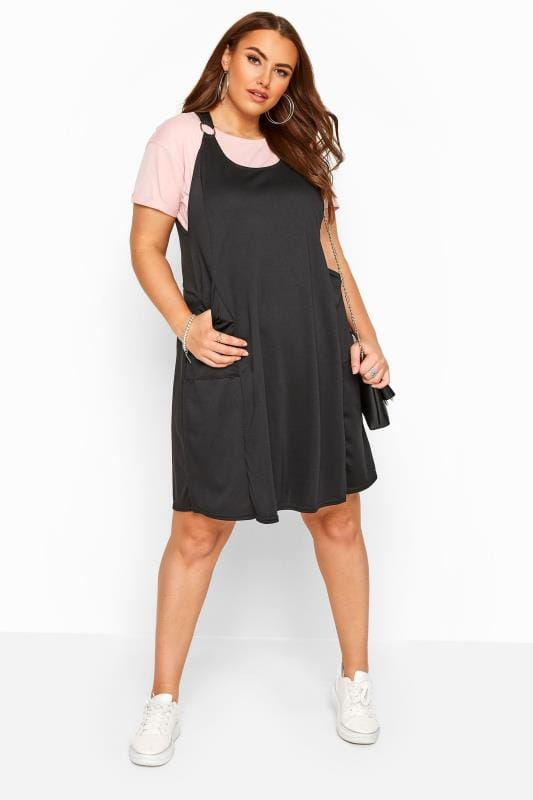 Pinafore Dresses Grande Taille Black Swing Pinafore Dress