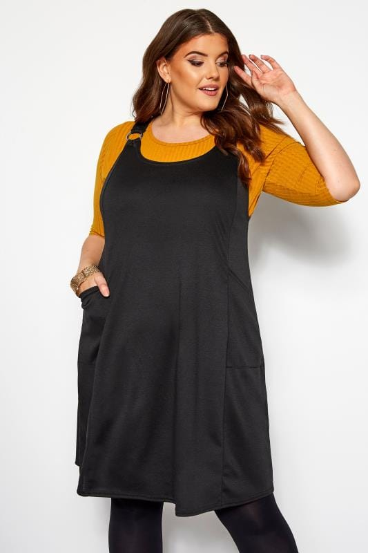 Robes Chasubles Grande Taille Robe Noire Style Salopette en Jersey