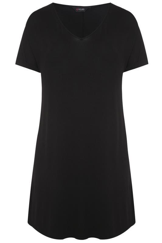 Czarna sukienka t shirtowa z nadrukiem, damskie duże