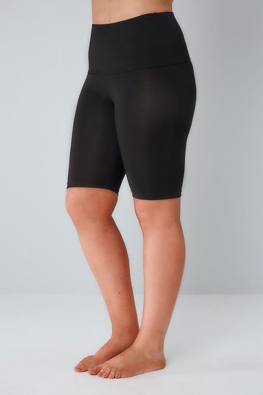 Большие размеры | Plus Size Shapewear Black TUMMY CONTROL Soft Touch Legging Shorts