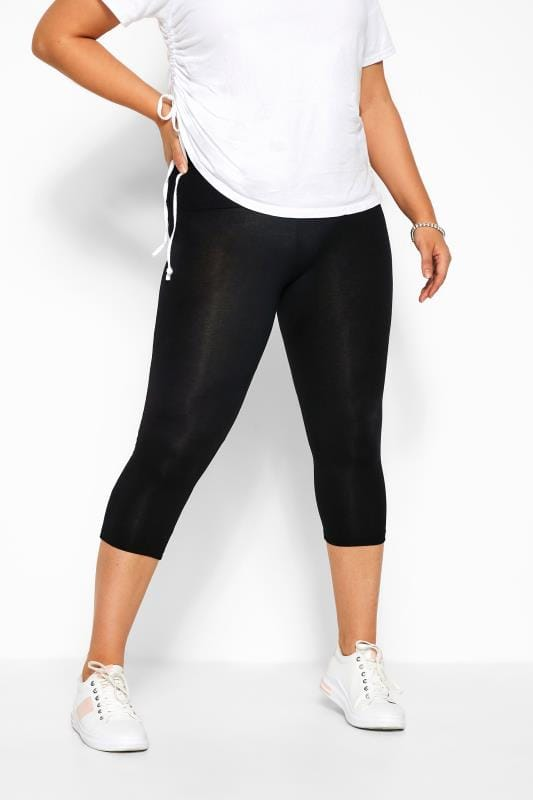 Plus Size Tummy Control Leggings Black TUMMY CONTROL Soft Touch Cropped Leggings