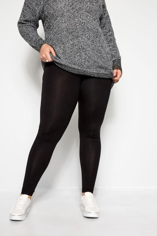 Plus Size Basic Leggings Black TUMMY CONTROL Soft Touch Leggings
