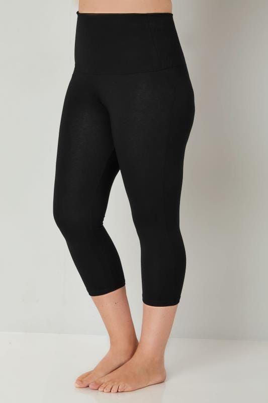 Black TUMMY CONTROL Soft Touch Cropped Leggings
