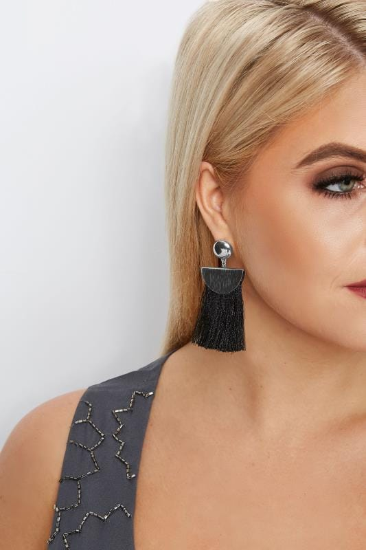 Plus Size Jewellery Black Tassel Earrings