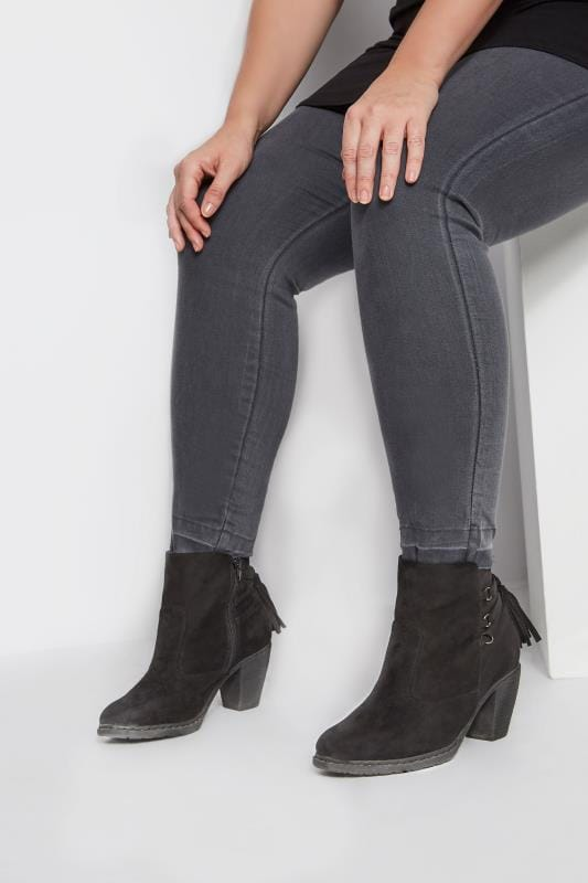 Wide Fit Boots Black Tassel Heeled Ankle Boots In Extra Wide Fit