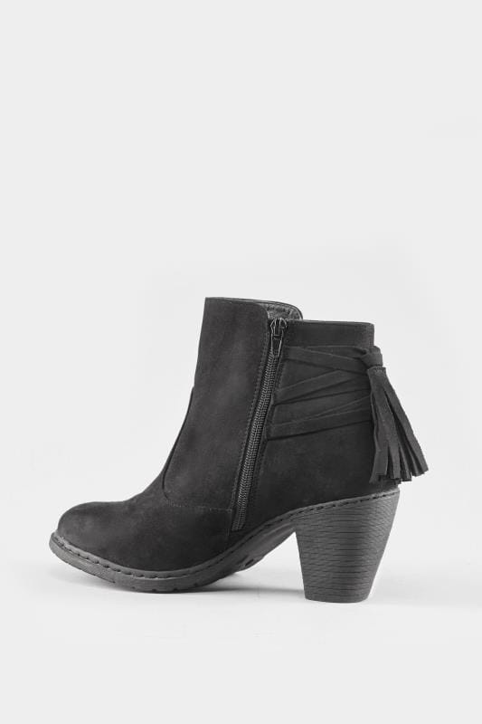 Black Tassel Heeled Ankle Boots In Extra Wide Fit