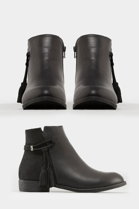 Black Tasselled Ankle Boots In Extra Wide Fit