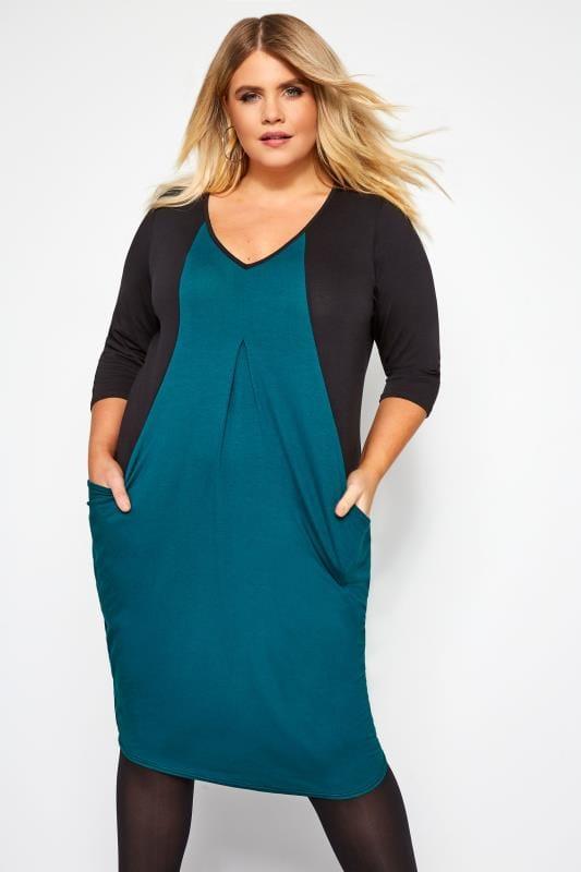 Black & Teal Blue Colour Block Drape Pocket Dress