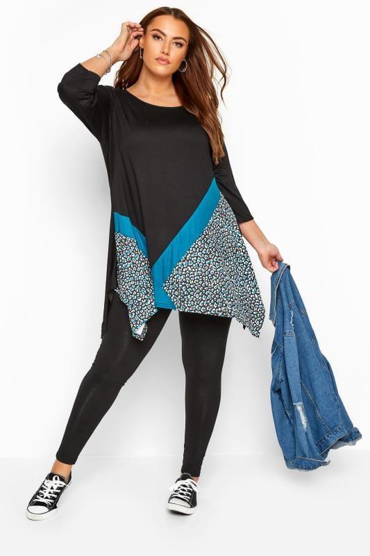 Black & Teal Blue Leopard Colour Block Top