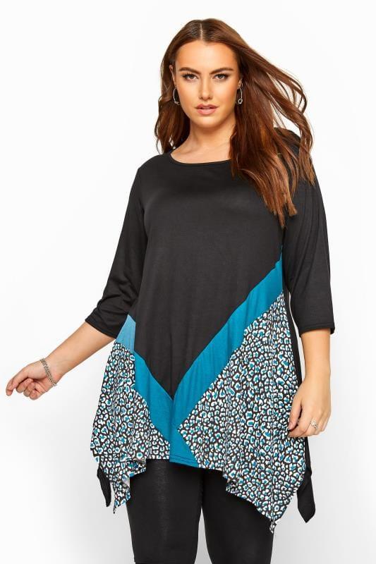 Plus Size Gifts Black & Teal Blue Leopard Colour Block Top