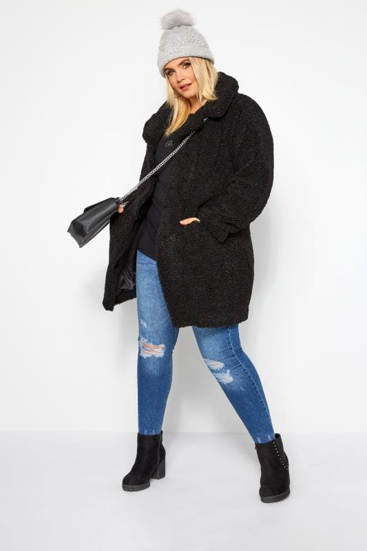 order online top-rated cheap search for newest Black Teddy Coat | Yours Clothing