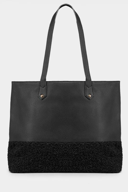 Black Textured 2-in-1 Tote Bag