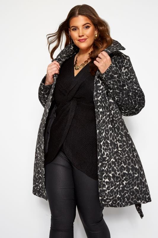 Black Textured Animal Print Belted Coat