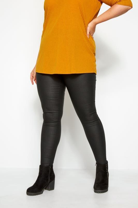 Plus Size Fashion Leggings Black Textured Coated Leggings