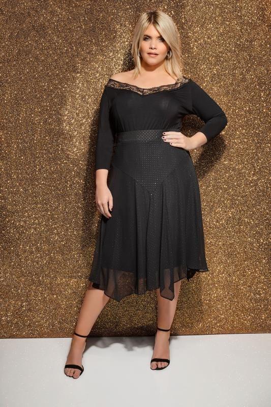 Plus Size Midi Skirts Black Textured Glitter Midi Skirt