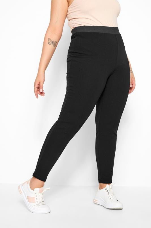 Black Textured Jersey Harem Trousers