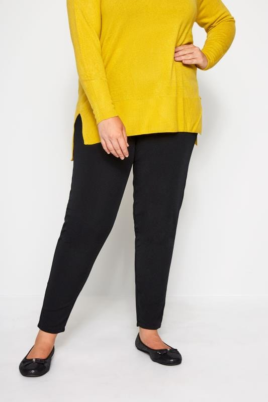 Plus Size Harem Trousers Black Textured Jersey Harem Trousers
