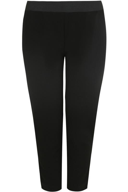 Black Textured Jersey Harem Trousers