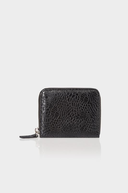 Black Textured Snakeskin Effect Small Zip Around Purse