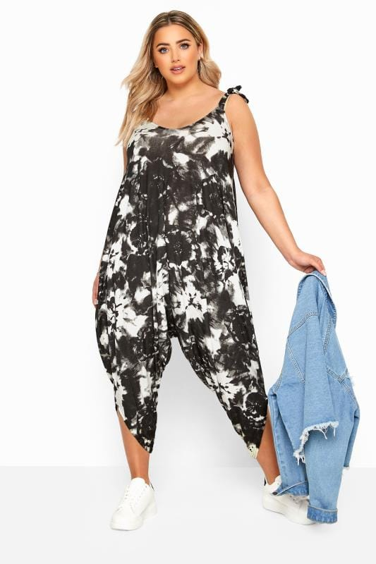 Plus Size Jumpsuits Black Tie Dye Harem Jumpsuit