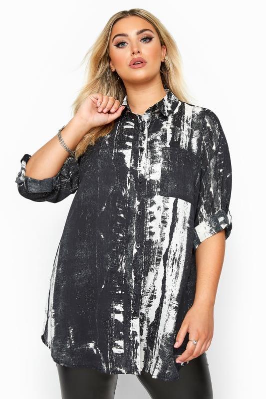Plus Size Blouses & Shirts Black Tie Dye Print Boyfriend Shirt